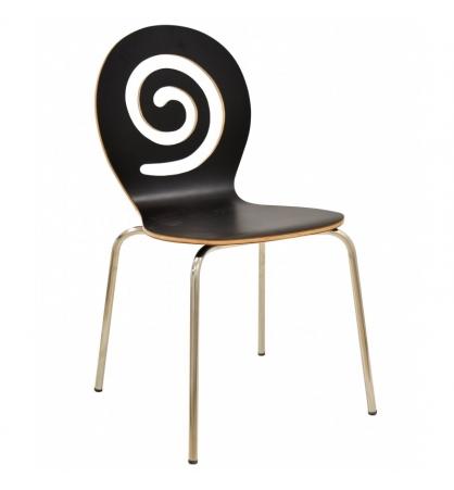 silla madera apilable patas acero inox