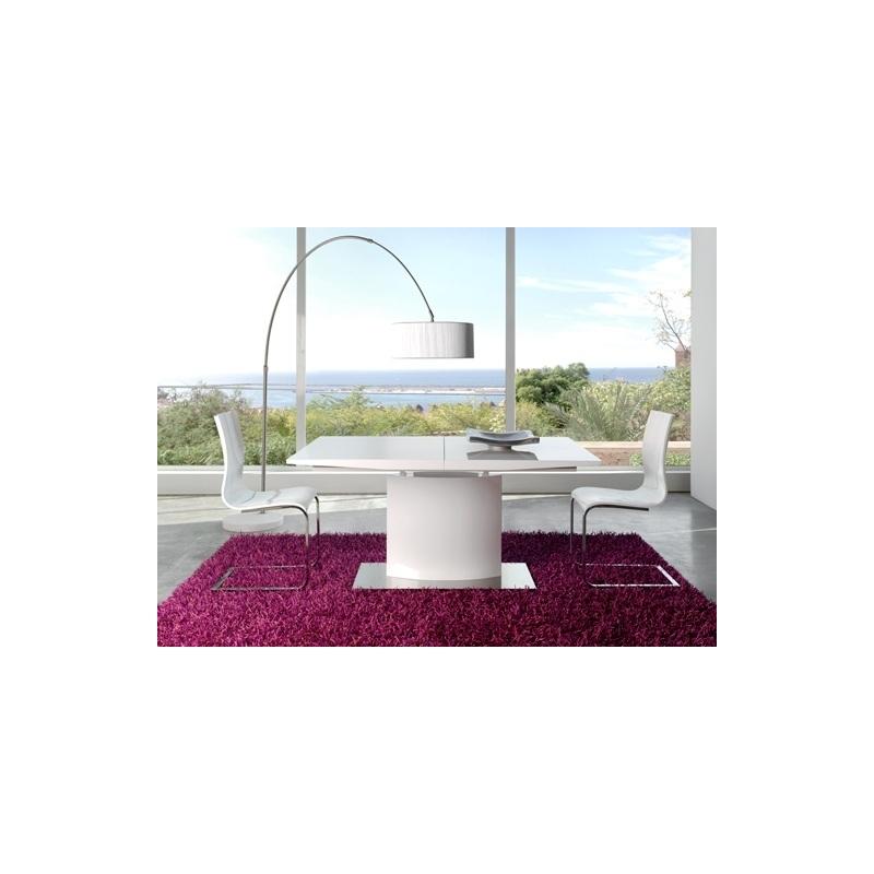 Mesa de comedor dt 01 extensible madera lacada blanca for Mesa comedor lacada blanca extensible