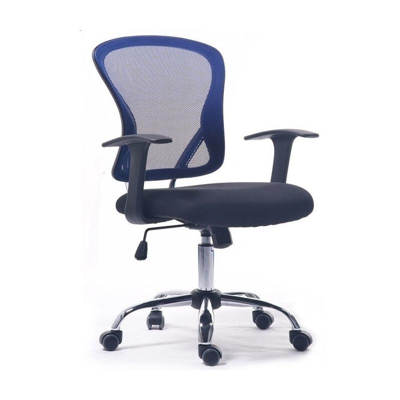 Silla de oficina POLI, brazos, malla azul, tejido negro